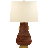 Kang Jug Large Table Lamp in Autumn Copper and Burnt Gold Accent with Natural Percale Shade