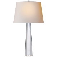 Octagonal Spire Medium Table Lamp in Crystal with Natural Paper Shade