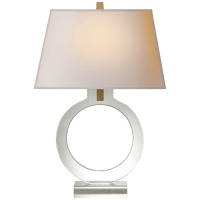 Ring Form Small Table Lamp in Crystal with Natural Paper Shade