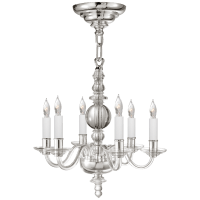 George II Mini Chandelier in Crystal with Polished Nickel