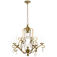 Piedmont Chandelier in Gilded Iron with Seeded Glass