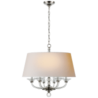 Crystal Stacked Ball Hanging Shade in Polished Nickel and Crystal with Natural Paper Shade