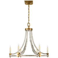 Crystal Cube Round Flatline Chandelier in Antique-Burnished Brass