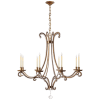 Oslo Large Chandelier in Gilded Iron with Crystal