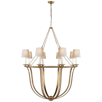 Lancaster Chandelier in Gilded Iron with Natural Paper Shades