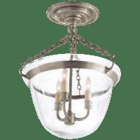 Country Semi-Flush Bell Jar Lantern in Antique Nickel