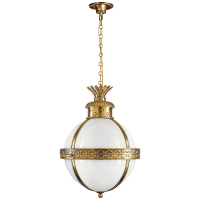 Crown Top Banded Globe Lantern in Antique-Burnished Brass with White Glass
