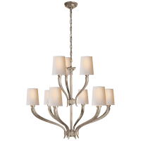 Ruhlmann 2-Tier Chandelier in Antique Nickel with Natural Paper Shades