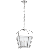 Riverside Small Square Lantern in Polished Nickel with Clear Glass