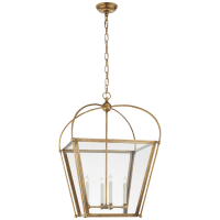 Riverside Medium Square Lantern in Antique-Burnished Brass with Clear Glass