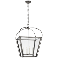 Riverside Medium Square Lantern in Bronze with Clear Glass