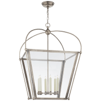 Riverside Large Square Lantern in Antique Nickel with Clear Glass
