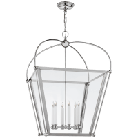 Riverside Large Square Lantern in Polished Nickel with Clear Glass