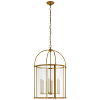 Riverside Large Round Lantern in Antique-Burnished Brass with Clear Glass