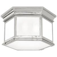 Club Large Hexagonal Flush Mount in Polished Nickel with Frosted Glass