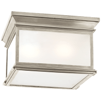 Club Large Square Flush Mount in Antique Nickel with Frosted Glass