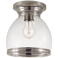 Edwardian Open Bottom Flush Mount in Antique Nickel with Clear Glass