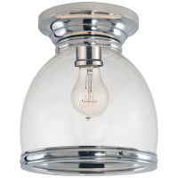 Edwardian Open Bottom Flush Mount in Polished Nickel with Clear Glass