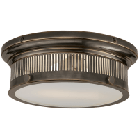 Alderly Small Flush Mount in Bronze with White Glass