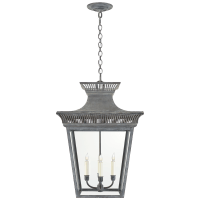 Elsinore Large Hanging Lantern in Weathered Zinc with Clear Glass