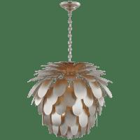 Cynara Grande Chandelier in Burnished Silver Leaf