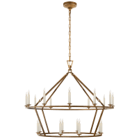 Darlana Large Two-Tiered Ring Chandelier in Gilded Iron