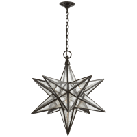 Moravian Large Star Lantern in Aged Iron with Antique Mirror