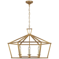 Darlana Wide Hexagonal Lantern in Antique-Burnished Brass