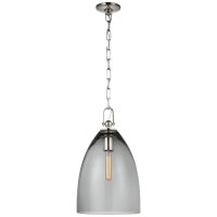 Andros Large Pendant in Polished Nickel with Smoked Glass
