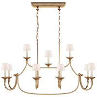 Flemish Large Linear Pendant in Gilded Iron with Linen Shades