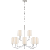 Reagan Medium Two Tier Chandelier in Polished Nickel and Crystal with Linen Shades