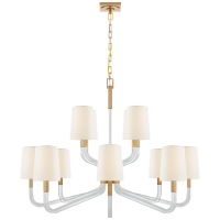Reagan Grande Two Tier Chandelier in Antique-Burnished Brass and Crystal with Linen Shades