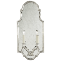 Sussex Medium Framed Double Sconce in Polished Nickel with Antique Mirror