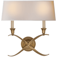 Cross Bouillotte Large Sconce in Antique-Burnished Brass with Natural Paper Shade