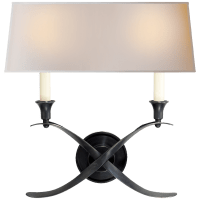 Cross Bouillotte Large Sconce in Bronze with Natural Paper Shade