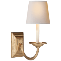 Flemish Single Sconce in Gilded Iron with Natural Paper Shade