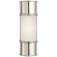 """Oxford 12"""" Bath Sconce in Polished Nickel with Frosted Glass"""