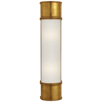 """Oxford 18"""" Bath Sconce in Antique-Burnished Brass with Frosted Glass"""