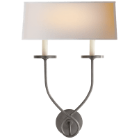 Symmetric Twist Double Sconce in Bronze with Natural Paper Shade