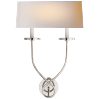 Symmetric Twist Double Sconce in Polished Nickel with Natural Paper Shade
