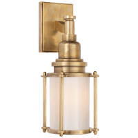 Stanway Sconce in Antique-Burnished Brass with White Glass