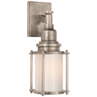 Stanway Sconce in Antique Nickel with White Glass