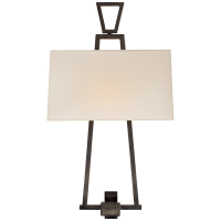 Modern Darlana Bouillotte Sconce in Bronze with Natural Paper Shade