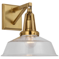 "Layton 10"" Sconce in Antique-Burnished Brass with Clear Glass"