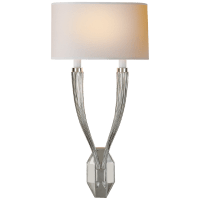 Ruhlmann Double Sconce in Polished Nickel with Natural Paper Shade