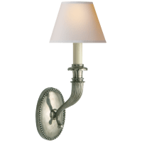 Fluted Horn Single Sconce in Antique Nickel with Natural Paper Shade