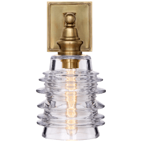 Covington Sconce in Antique-Burnished Brass with Clear Ribbed Wide Glass