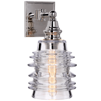 Covington Sconce in Polished Nickel with Clear Ribbed Wide Glass