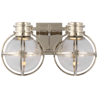 Gracie Double Sconce in Polished Nickel with Clear Glass