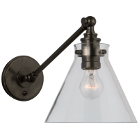 Parkington Single Library Wall Light in Bronze with Clear Glass